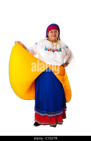 Beautiful senior Latin Gypsy woman from South America dressed in Folklore clothes from Ecuador, Colombia or Venezuela, - Stock Image