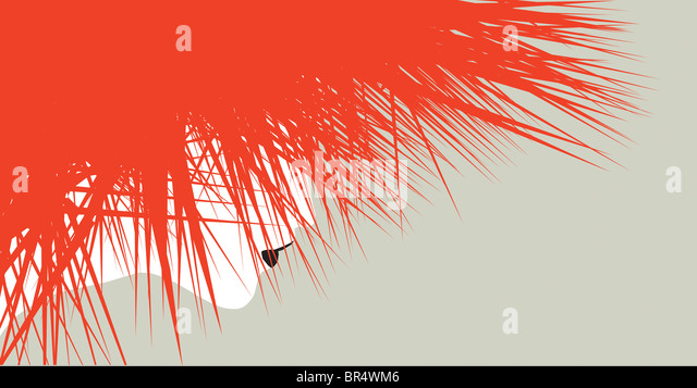 An illustration of a woman with wild red spiked hair with her face only slightly visible behind it - Stock-Bilder