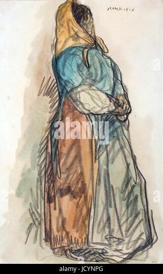 Isidre Nonell, Waiting 1906 Drawing, pencil and watercolor on paper. Museu Nacional d'Art de Catalunya, Barcelona, - Stock-Bilder