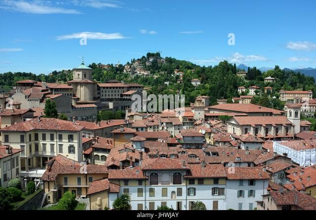 The skyline of the Citta Alta (upper city) facing west from the Civic Tower, Bergamo, Lombardy, northern Italy, - Stock Image