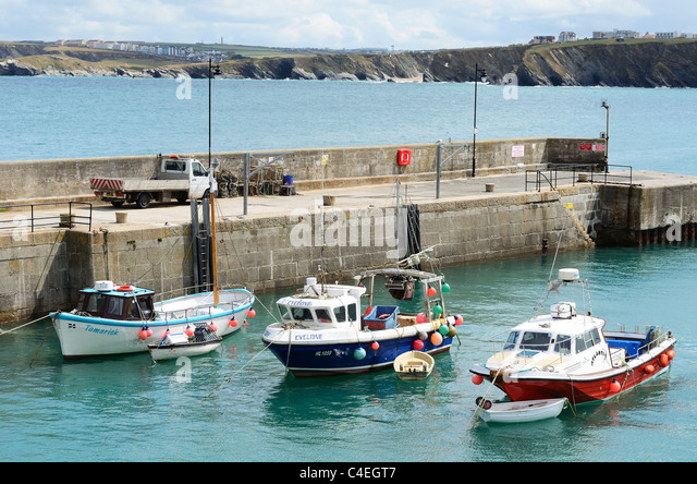 Fishing boats in the harbour at Newquay, Cornwall, UK - Stock Image