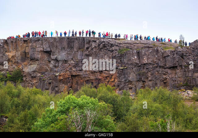 Mass tourism in National Park Thingvellir, Mid-Atlantic Ridge, Golden Circle, Iceland - Stock Image