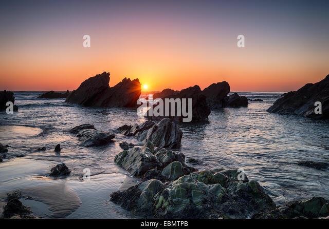Sunset at Sharrow beach on Whitsand Bay in Cornwall - Stock Image