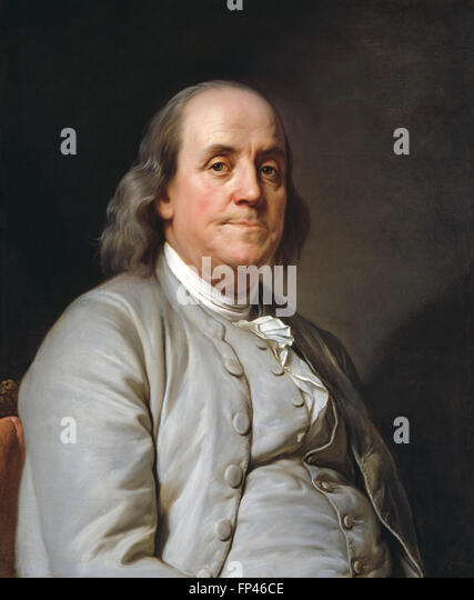 Benjamin Franklin Portrait painting by Joseph-Siffred Duplessis 1785 - Stock Image