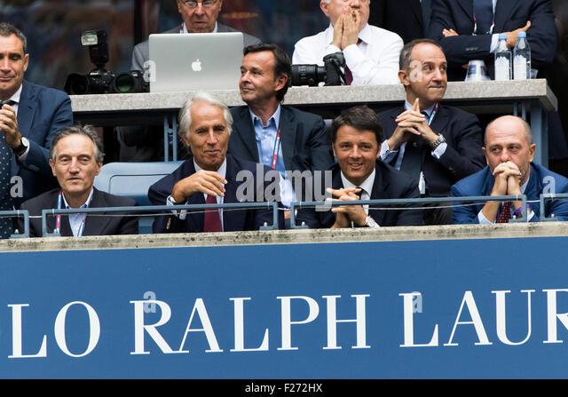 Italian prime minister Matteo Renzi (third from left) watches Flavvia Pennetta (ITA) and Roberta Vinci (ITA) in - Stock Image