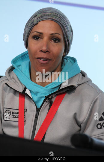 ​​​London, UK 24 April 2016.  Dame Kelly Holmes during the Virgin Money London Marathon winners press confrence.​ - Stock Image