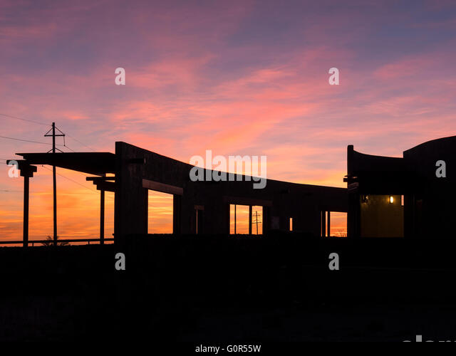 Sunset, Marfa Lights Viewing Center, Marfa, Texas. - Stock Image