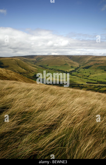 Vale of Edale from Rushup edge,Peak district national park, Derbyshire,England,UK. - Stock Image