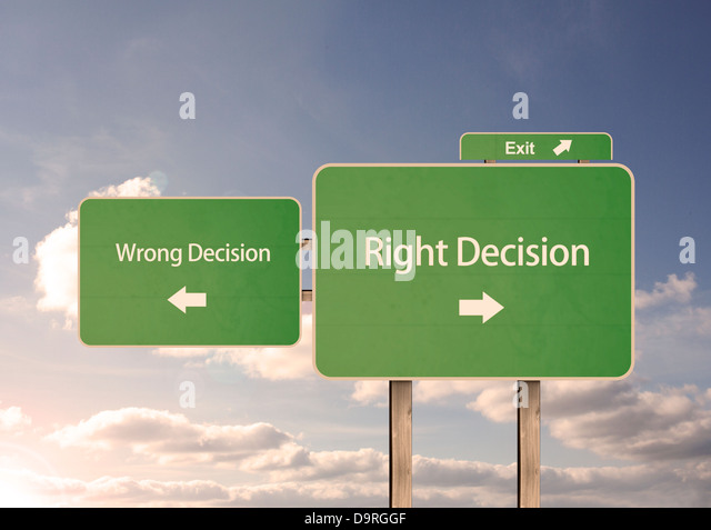 Wrong and right decision road signs - Stock Image