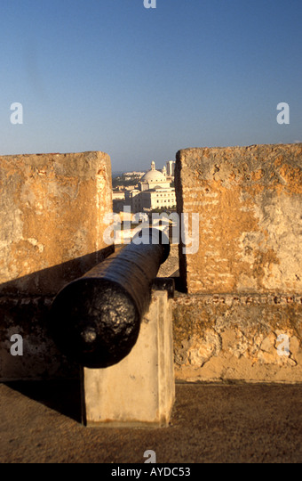 Puerto Rico El Morro Fortress cannon Old San Juan - Stock Image