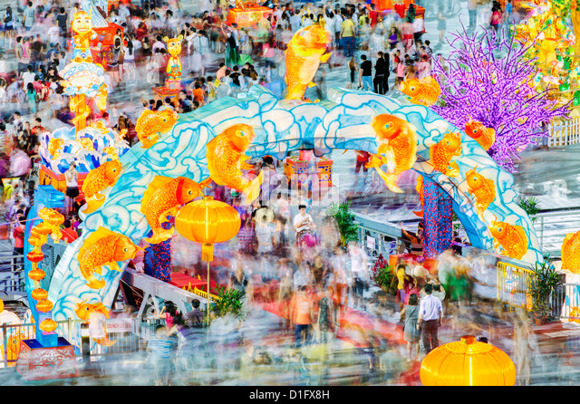 River Hongbao decorations for Chinese New Year celebrations at Marina Bay, Singapore, Southeast Asia, Asia - Stock Image
