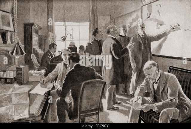 The war room at Washington D.C., United States of America around the time of the Spanish-American War, 1898. - Stock Image