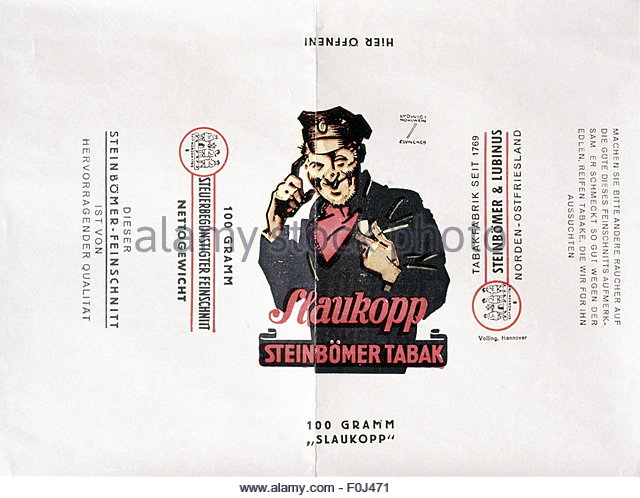 Slaukopp tobacco, advertising by Ludwig Hohlwein, 1930s - Stock Image