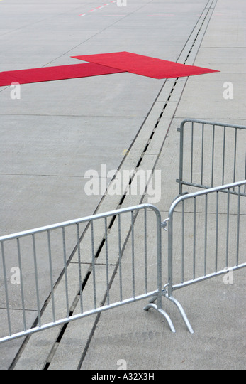 Barriers and a red carpet for Pope Benedict XVI., Koeln, Germany - Stock-Bilder