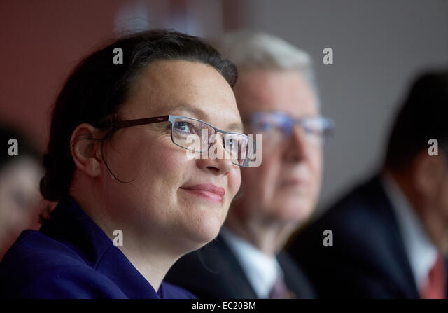 Federal Labour Minister Andrea Nahles, 31.10.2014, Koblenz Chamber of Crafts, Koblenz, Rhineland-Palatinate, Germany - Stock Image