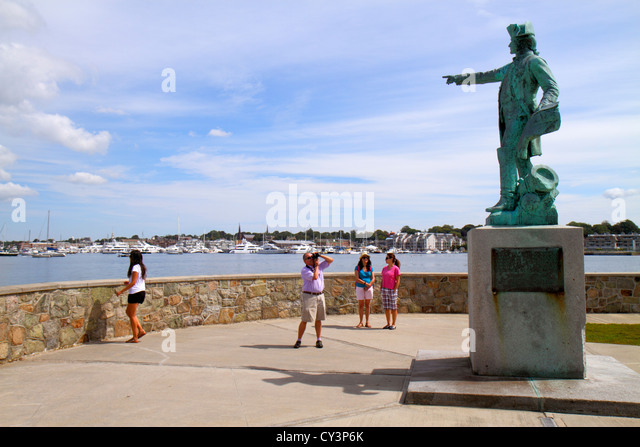 Rhode Island Newport King Park Brenton Cove Newport Harbor Rochambeau Statue and Memorial - Stock Image