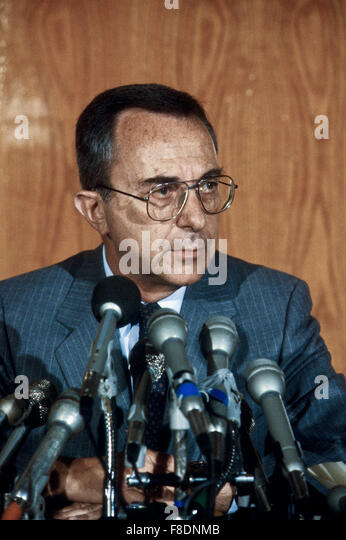 Washington, DC.,USA, June 1984. Israeli Defense Minister Moshe Arens at news conference after meetings with US government - Stock Image