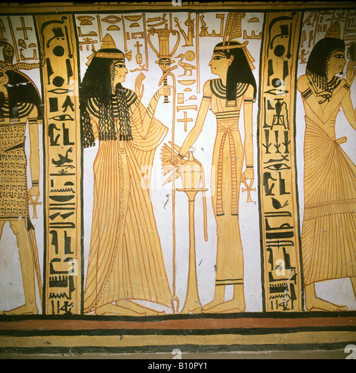 Nekhtamun s wife with Maat 19th Dyn Deir el Medina Egypt Copyright AAAC Ltd - Stock Image