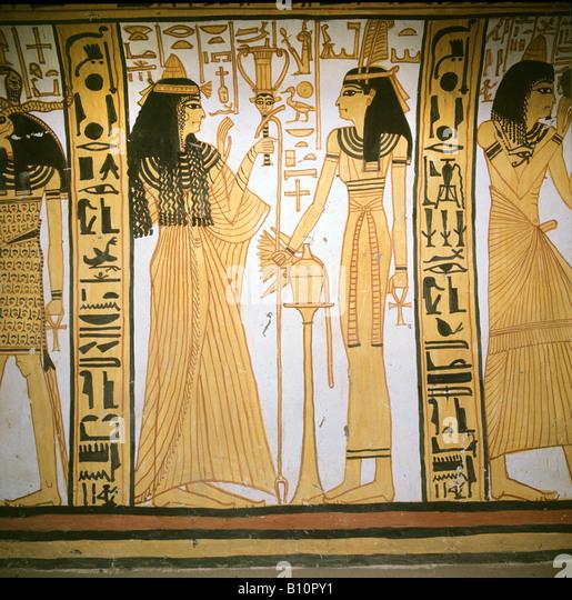 Nekhtamun s wife with Maat 19th Dyn Deir el Medina Egypt Copyright AAAC Ltd - Stock Image