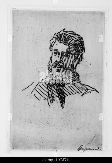 Pencil sketching of Felix Bracquemond, the french illustrator, 1867. From the New York Public Library. - Stock Image