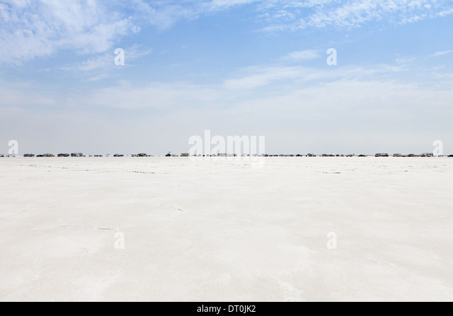 Spectators in row Bonneville Salt Flats Speed Week - Stock Image