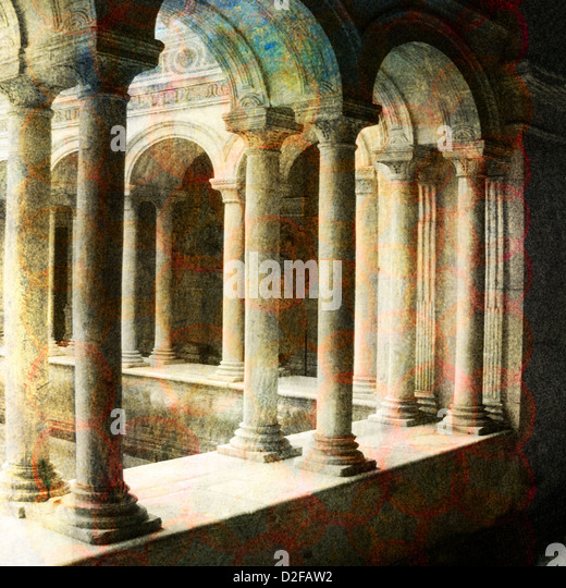 Classical Roman architecture. Photo based illustration. - Stock Image