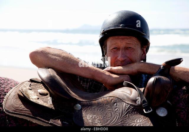 Horse rider, Pakiri Beach, Auckland, New Zealand - Stock Image