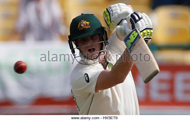 Cricket - India v Australia - Fourth Test cricket match - Himachal Pradesh Cricket Association Stadium, Dharamsala, - Stock-Bilder