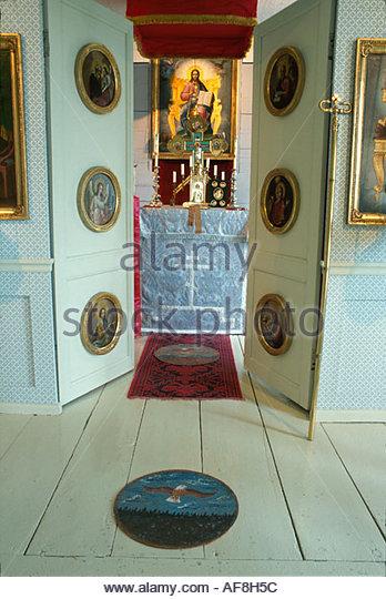 Alaska Stika Russian Bishop's House entrance to sanctuary - Stock Image