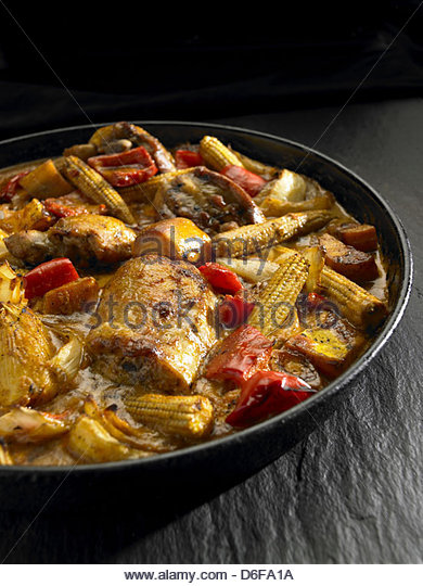 Chicken and vegetable stew - Stock Image