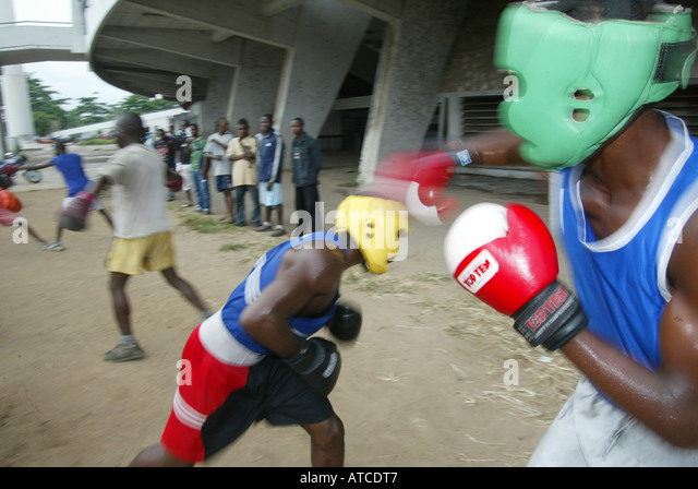 Boxing is a national sport in Nigeria and many hope to break through to national level - Stock Image