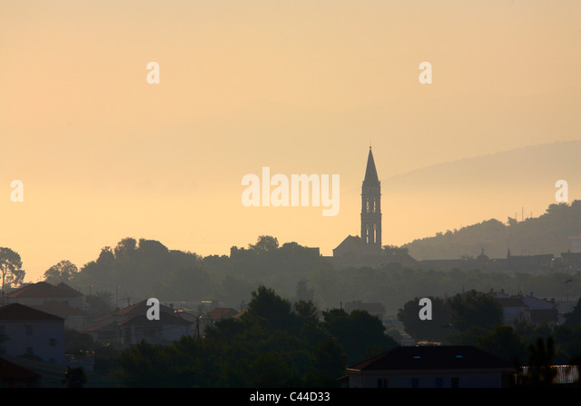 Silhouette of Cathedral  of st. Lawrence in Trogir town - Stock-Bilder