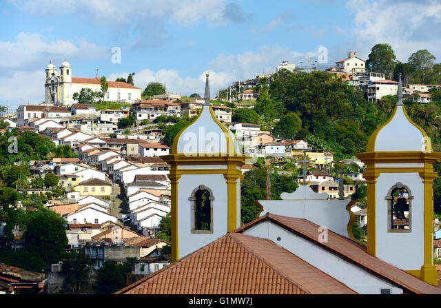 View of the unesco world heritage city of Ouro Preto in Minas Gerais Brazil - Stock Image