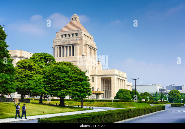 TOKYO, JAPAN - JULY 31 2015: The National Diet Building of Japan. - Stock Image