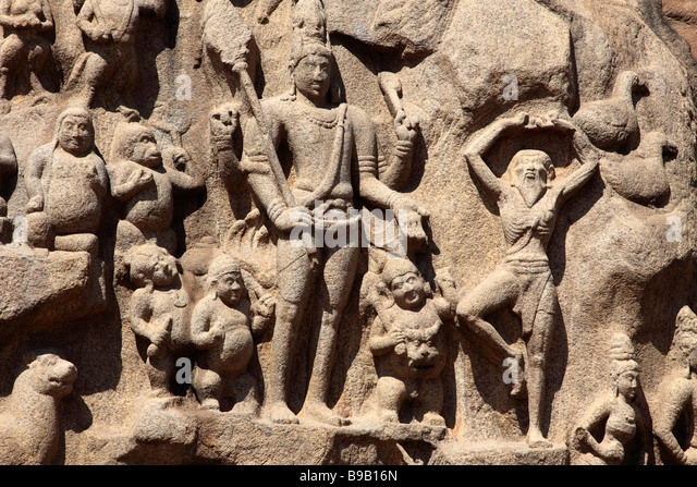 India Tamil Nadu Mamallapuram Mahabalipuram Arjuna s Penance - Stock Image