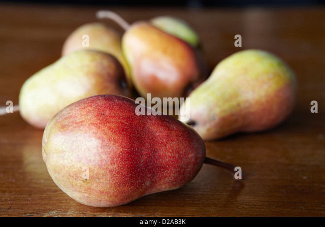 Close up of pears on table - Stock Image