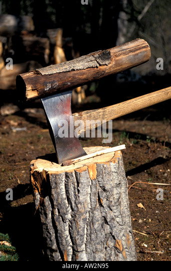 Alaska Two sided axe with wood pile - Stock Image