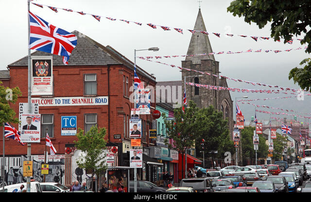 Belfast Unionist, Loyalist Shankill Road, West Belfast,with red white blue bunting, Northern Ireland - Stock Image