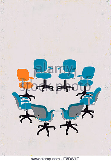 Orange chair standing out from crowd of empty blue chairs in circle - Stock Image