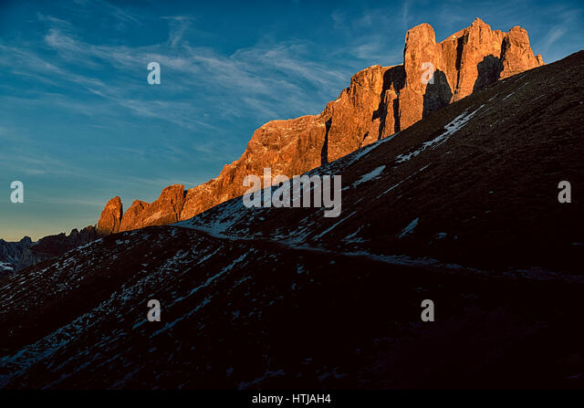 Sunset over the Tower of Sella in magical winter end of the day, Dolomiti - Italy - Stock Image