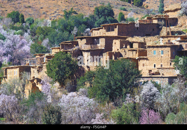 Village in the HIgh Atlas Mountains, Morocco. - Stock Image