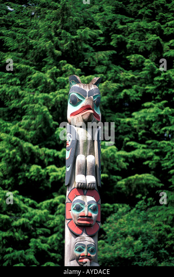 Alaska Ketchikan Chief Johnson totem - Stock Image