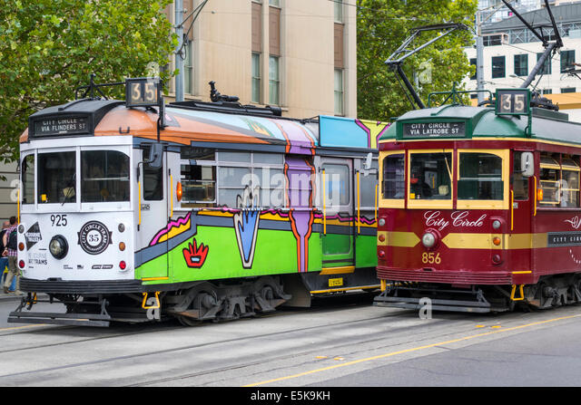 Australia Victoria Melbourne Central Business District CBD Spring Street City Circle Tram trolley public transportation - Stock Image