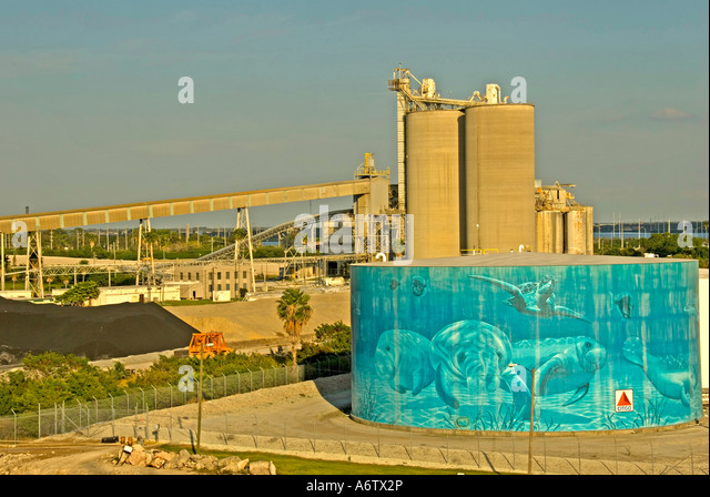 Tampa Bay Florida  Port of Tampa fuel tank painted with manatees open space text space copy space type space - Stock Image