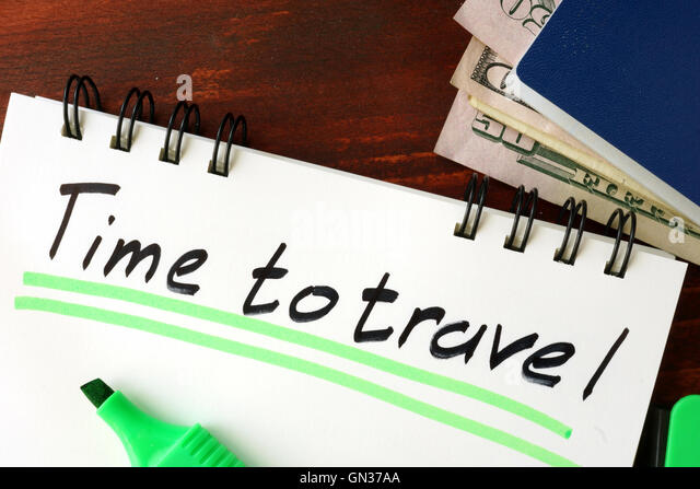Time to travel sign written in a notepad. - Stock-Bilder
