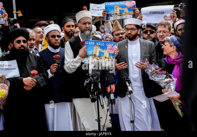London, United Kingdom ? 7 June, 2017: Imams from all around the UK gathered today by the London Bridge site of - Stock-Bilder