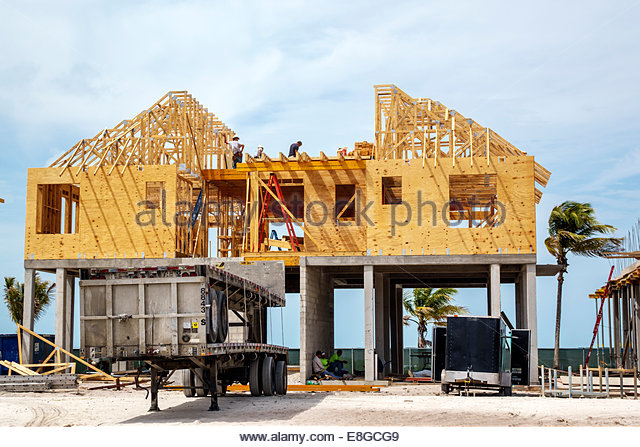 Fort Myers Florida Ft. Beach Estero Island new home construction site beachfront Gulf of Mexico - Stock Image