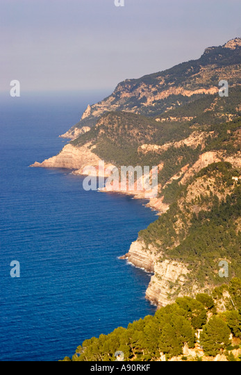 Mallorca west coast cliff line - Stock Image