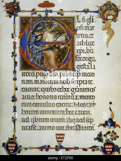 Legend and craft of Saint George. Represented as medieval copyist. 14th century. Vatican Apostolic Library - Stock Image