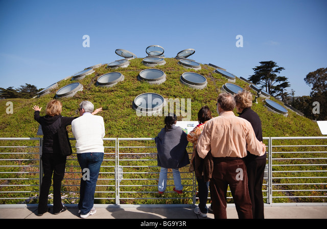 Visitors admire The Living Roof at the California Academy of Sciences, Golden Gate Park, San Francisco, California, - Stock Image
